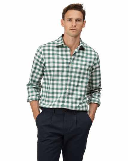 Geruit groen/wit strijkvrij stretch Oxford-overhemd met zachte wassing, slanke pasvorm
