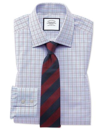 Classic fit purple multi check Egyptian cotton shirt