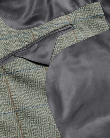 British Wool Cotton Cashmere Check Jacket - Green