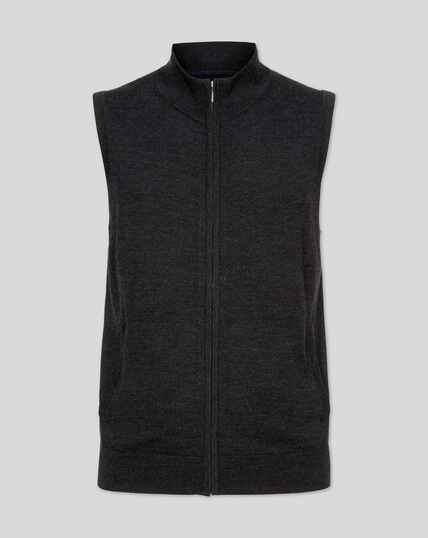 Dark charcoal merino zip through vest