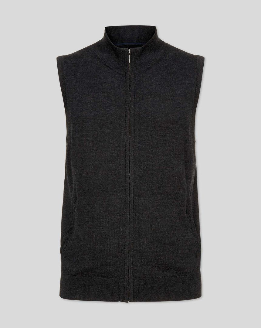 Dark charcoal merino zip through gilet