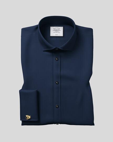 Bügelfreies Twill Hemd mit Haifischkragen - Marineblau