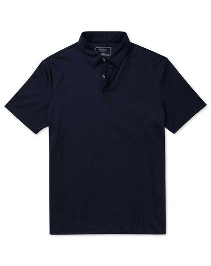Polo bleu marine uni en jersey