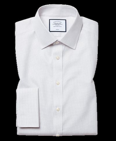 Bügelfreies Classic Fit Hemd aus Dash-Gewebe in Grau