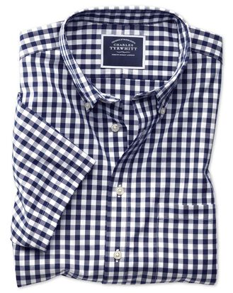 Classic fit button-down non-iron poplin short sleeve navy blue gingham shirt