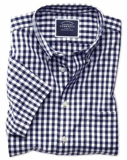 Slim fit non-iron navy gingham short sleeve shirt