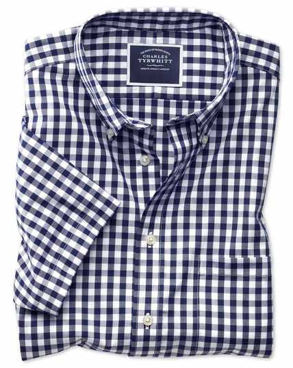 Slim fit button-down non-iron poplin short sleeve navy gingham shirt