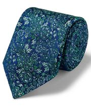 Green multi floral English luxury tie