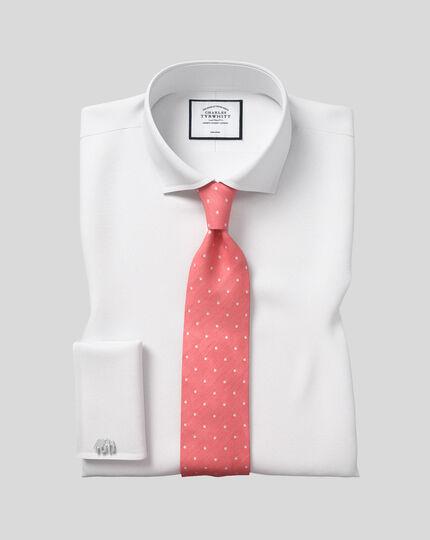 Klassische Krawatte aus Seide & Leinen mit Punkten - Korallenrot
