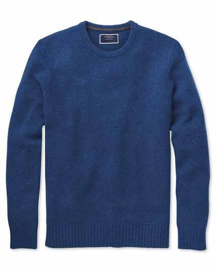 Blue crew neck Donegal merino jumper