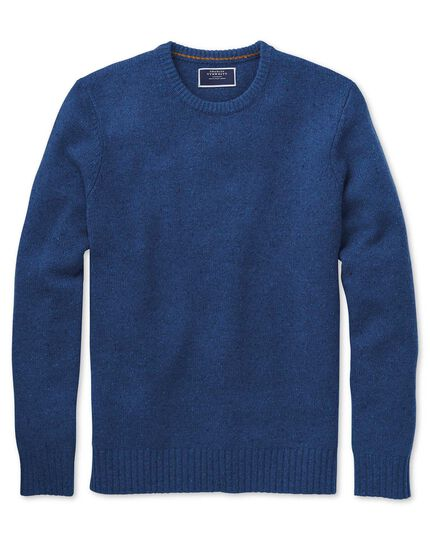 Blue crew neck Donegal merino sweater