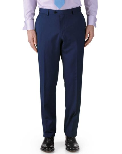 Royal blue classic fit twill business suit trouser