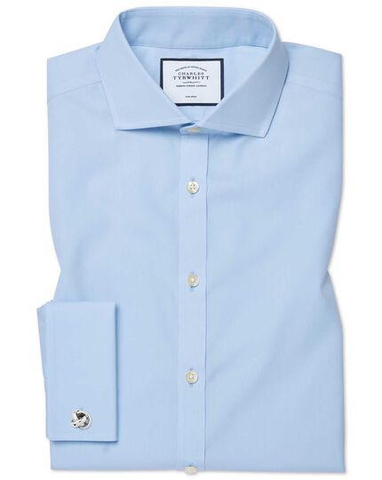 Extra slim fit sky blue non-iron twill cutaway shirt