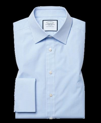 Extra slim fit light sky blue small gingham shirt