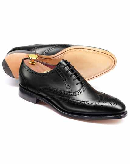 Black calf leather wing tip Oxford brogue shoe
