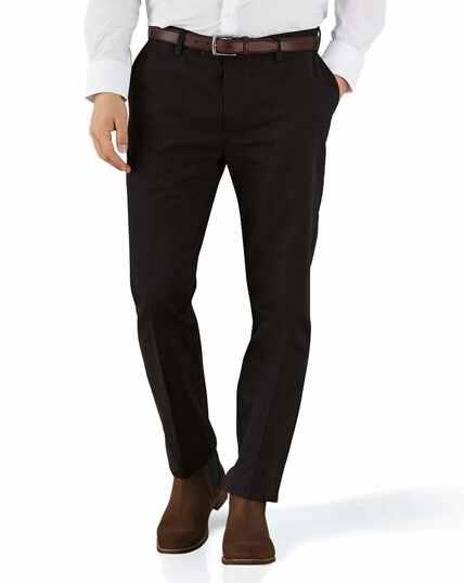 Bügelfreie Extra Slim Fit Chino Hose ohne Bundfalte in Schwarz