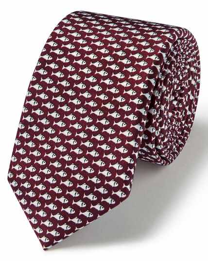 Burgundy fish print silk slim tie