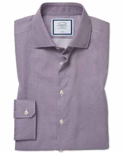 Super slim fit non-iron spot print purple shirt