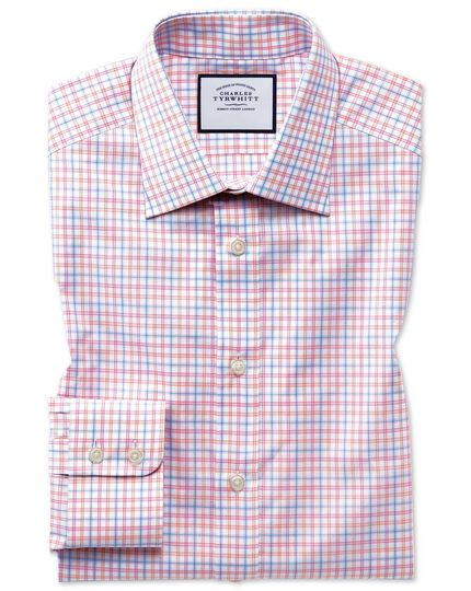 Chemise rose en popeline de coton égyptien slim fit à carreaux multicolores