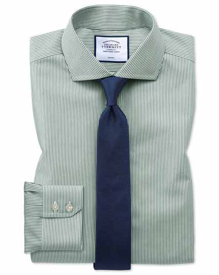 Extra slim fit non-iron spread collar olive Bengal stripe shirt