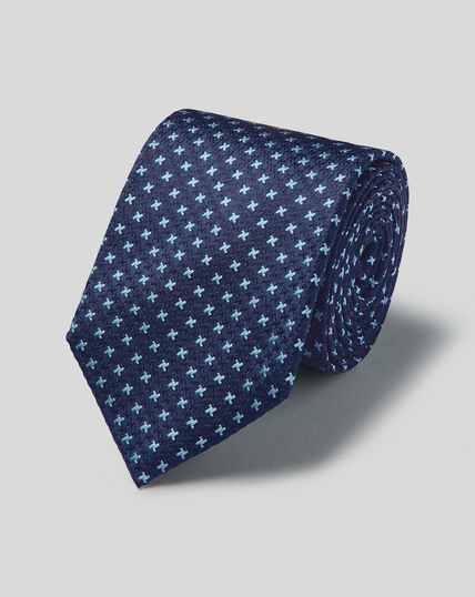 Cravate pied-de-poule tricolore en soie anti-taches - Bleu