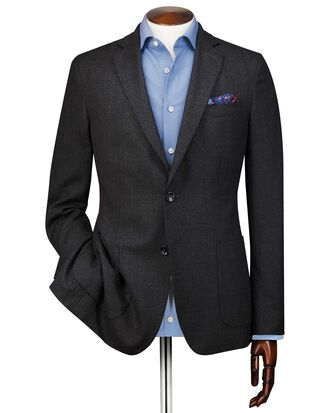 Slim fit charcoal Italian wool blazer
