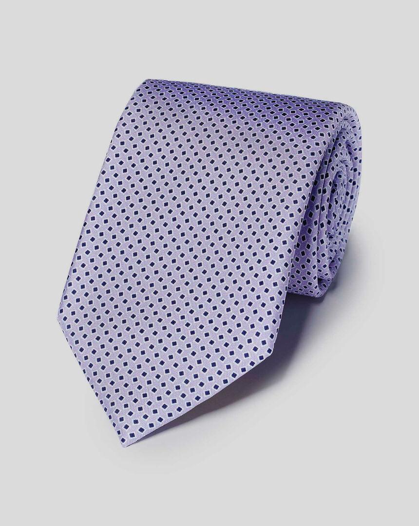 Krawatte aus Seide mit geometrischem Print - Lila & Blau