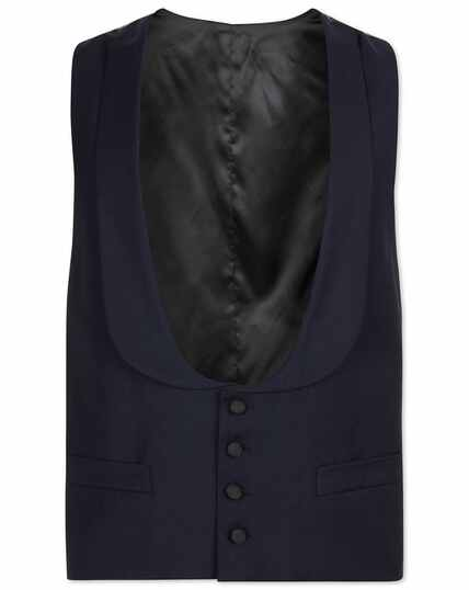 Navy adjustable fit shawl collar tuxedo vest