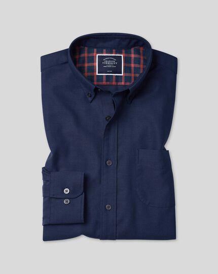 Button-Down Collar Soft Washed Non-Iron Twill Shirt - Dark Blue