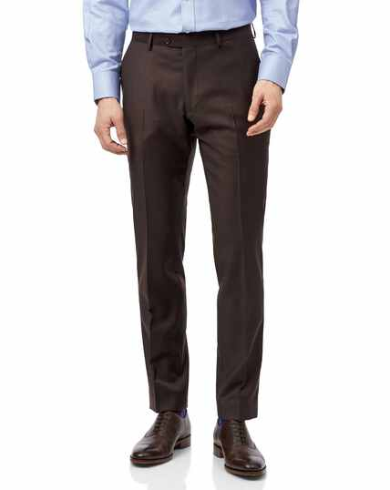 Brown slim fit twill business suit trousers