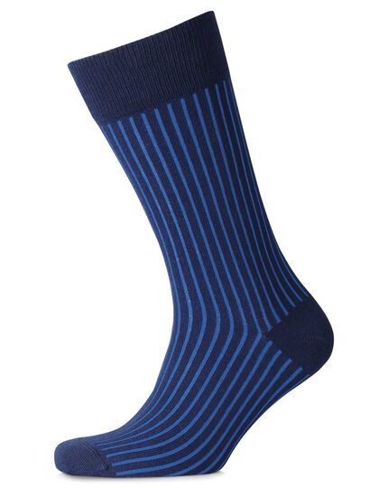 Navy and blue vertical stripe socks