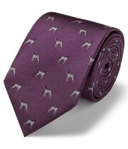 Purple silk motif jacquard pointer dog classic tie