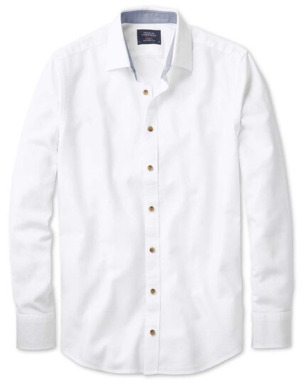 Classic fit washed textured white shirt