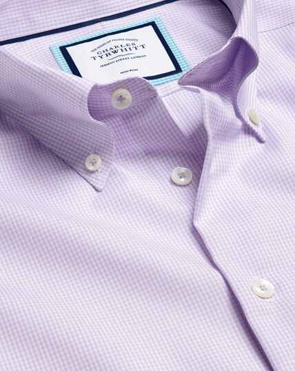 Button-Down Collar Non-Iron Check Shirt - Lilac