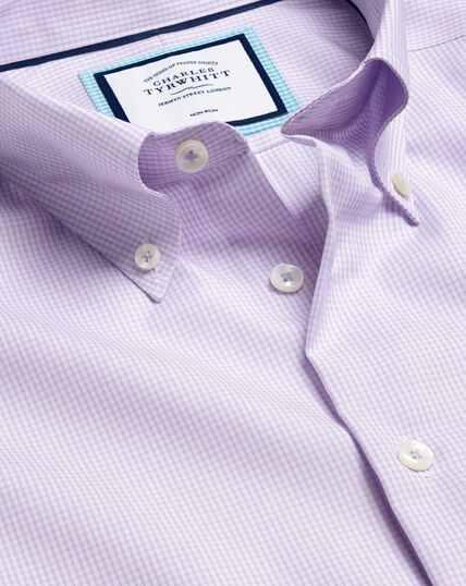 Bügelfreies Hemd mit Button-down-Kragen und Karos - Lila