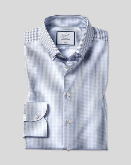 Bügelfreies Hemd mit Button-down-Kragen und Karos - Königsblau