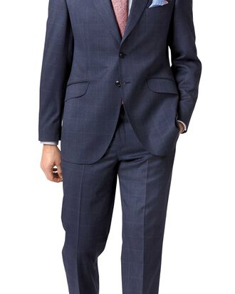 Airforce blue slim fit Italian cross hatch weave suit