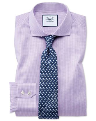 Extra slim fit spread collar non-iron puppytooth lilac shirt