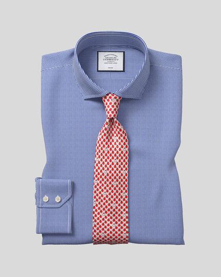 Spread Collar Non-Iron Puppytooth Shirt  - Royal Blue