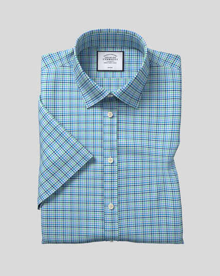 Classic Collar Non-Iron Tyrwhitt Cool Poplin Short Sleeve Check Shirt - Blue & Green