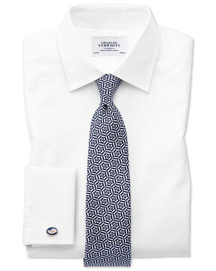 Navy and white silk printed geometric English luxury tie