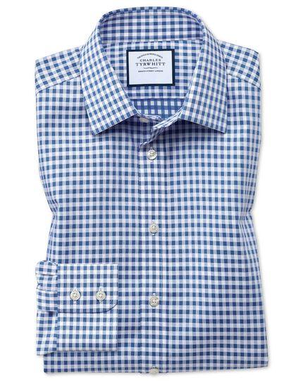 Bügelfreies Slim Fit Hemd in Mittelblau mit Gingham-Karos