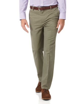 Olive slim fit flat front non-iron chinos