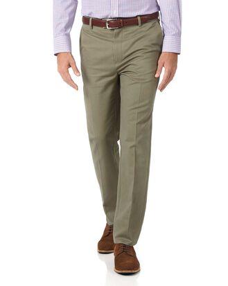 Pantalon chino olive slim fit à devant plat sans repassage