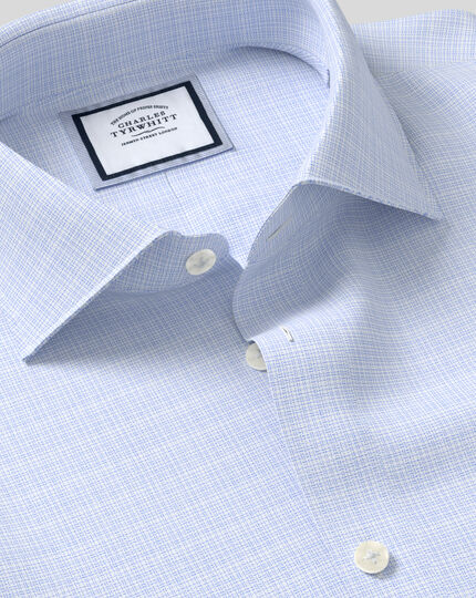 Business Casual Collar Non-Iron Natural Stretch Sketch Shirt - Blue