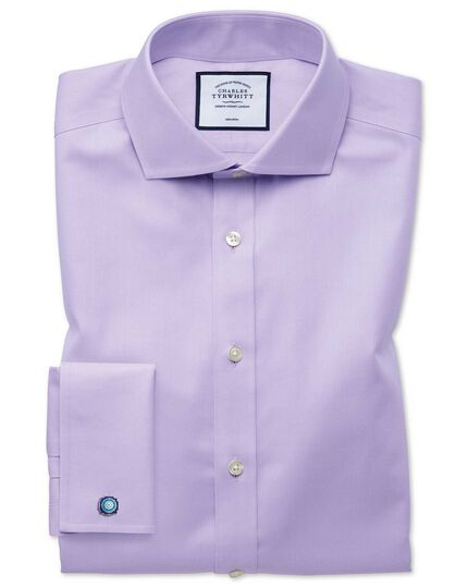 Slim fit non-iron twill lilac spread collar shirt