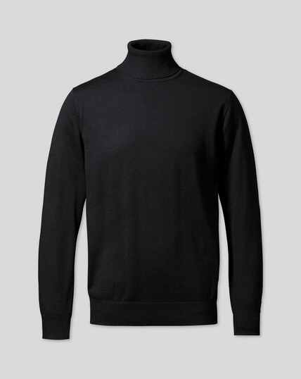 Merino Roll Neck Sweater - Black