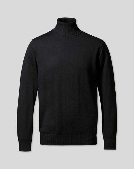 Pull en laine mérinos à col roulé - Noir