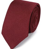 Dark red silk grenadine Italian luxury tie