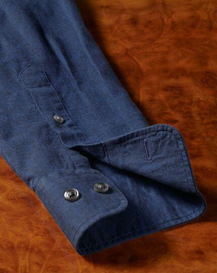 Classic fit cotton linen navy plain shirt